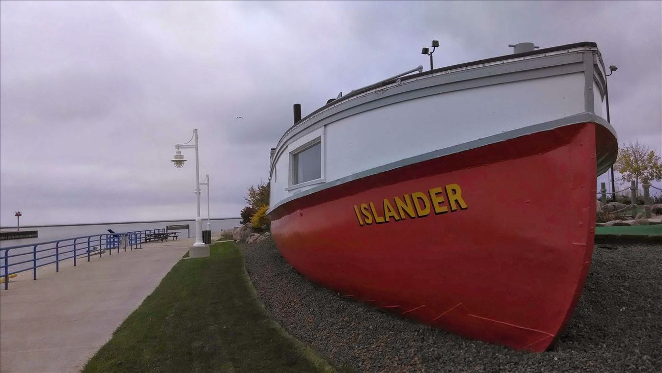 Islander displayed on shore of Sheboygan River, Wisc..